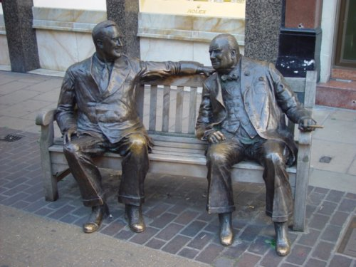 Statue of Churchill and FDR
