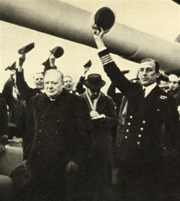 Churchill and the crew of HMS Exeter